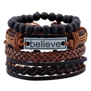 4n1 Multilayer Weave Beaded Bracelet for Men